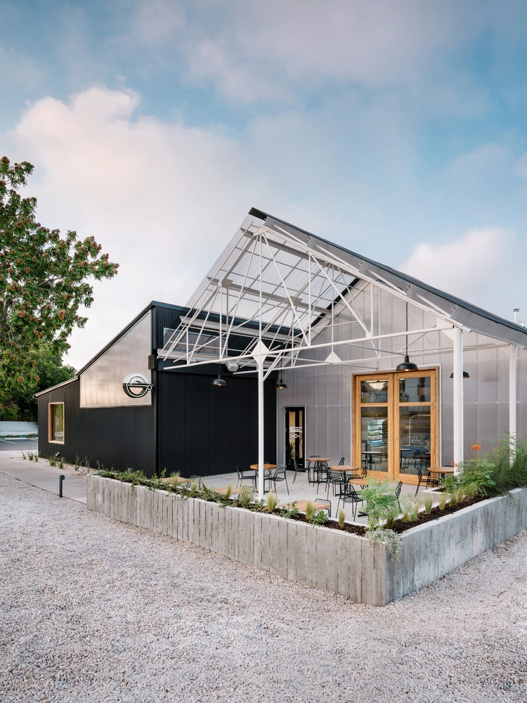 Exterior shot of Greater Goods Coffee shop in Austin
