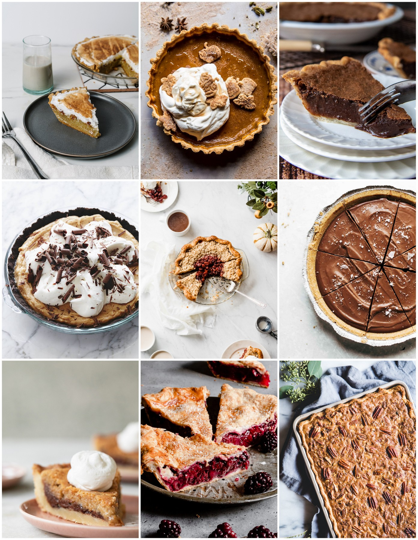 collage of thanksgiving pies