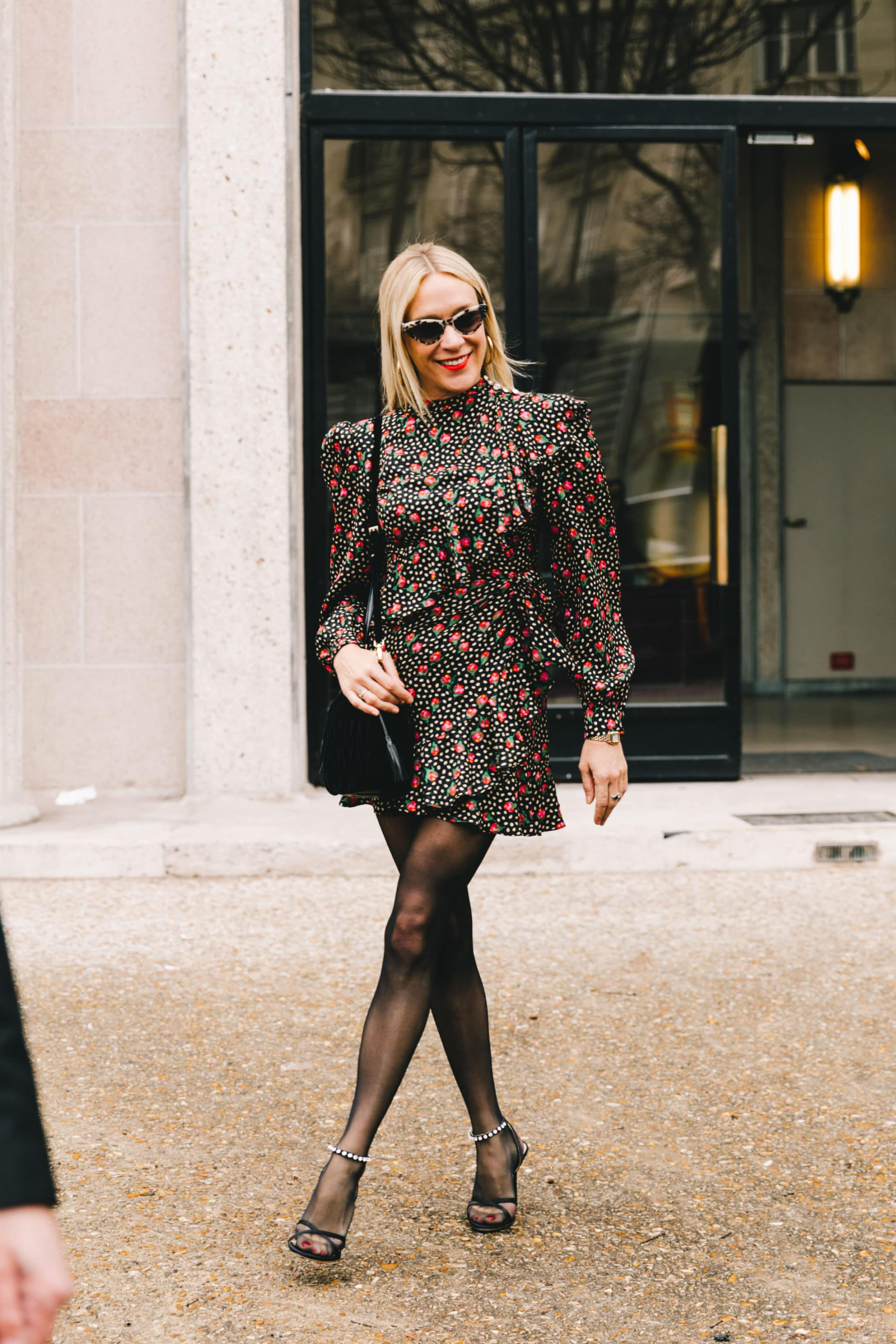 Floral Printed Mini Dress with Sheer Tights
