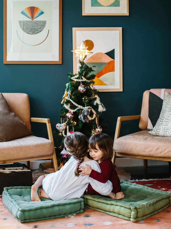 Kid's Christmas Tree Lights and Ornaments Sisters