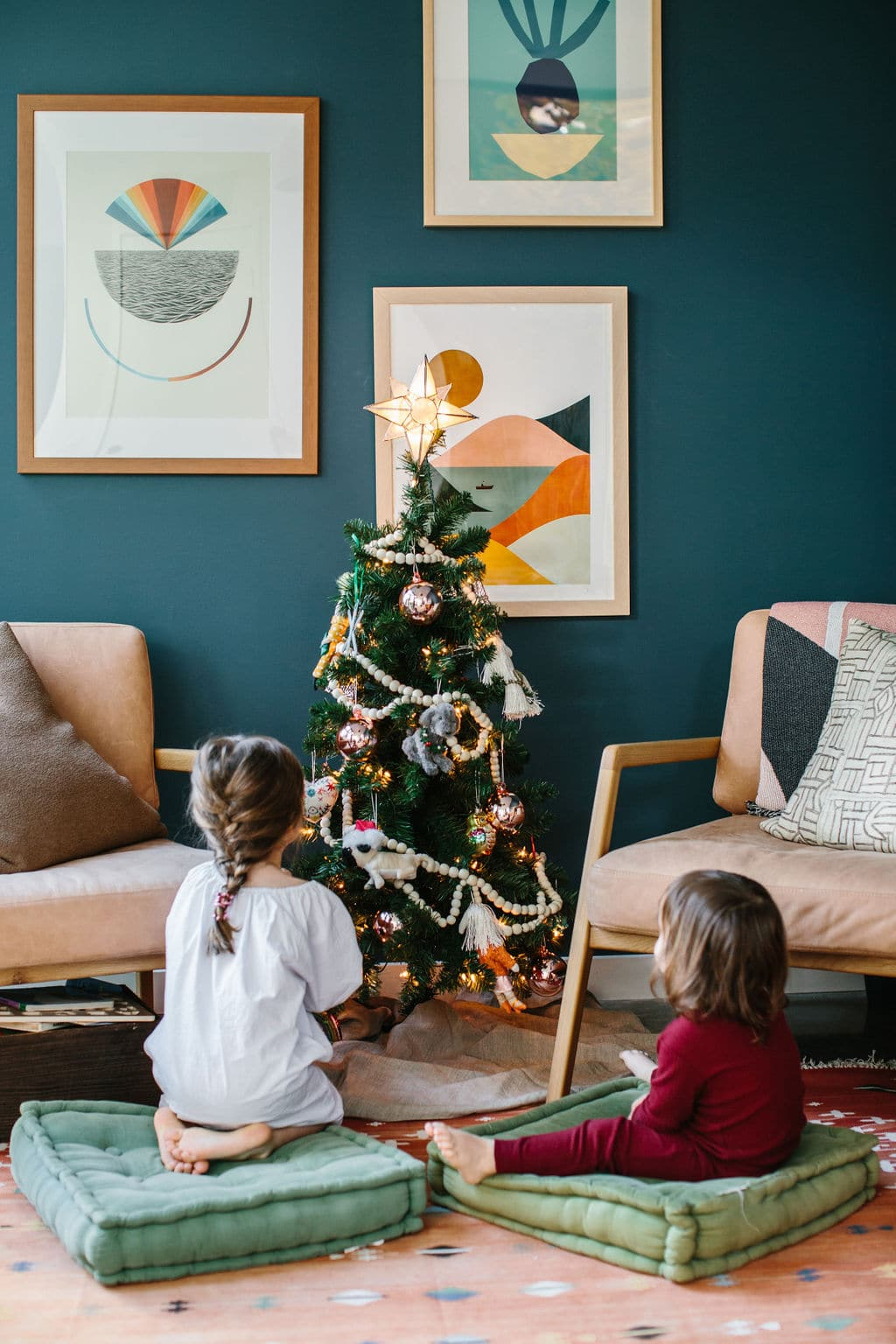 Kid's Christmas Tree Lights and Ornaments