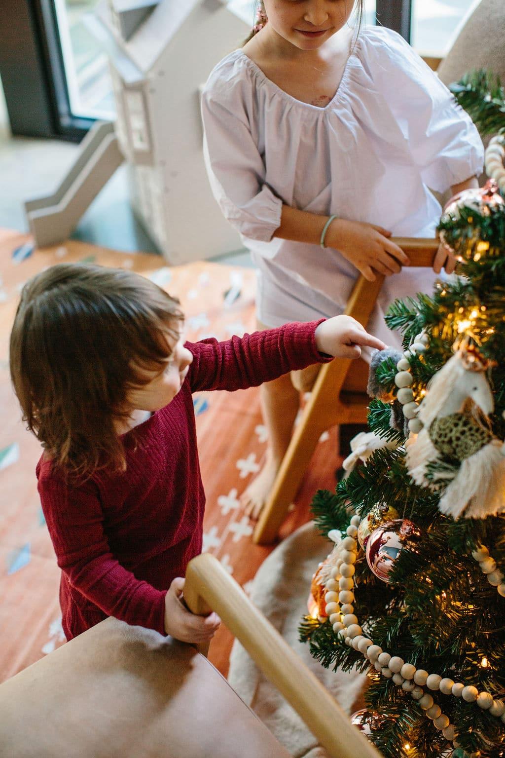 Kid's Christmas Tree Lights and Ornaments Pajamas Sisters