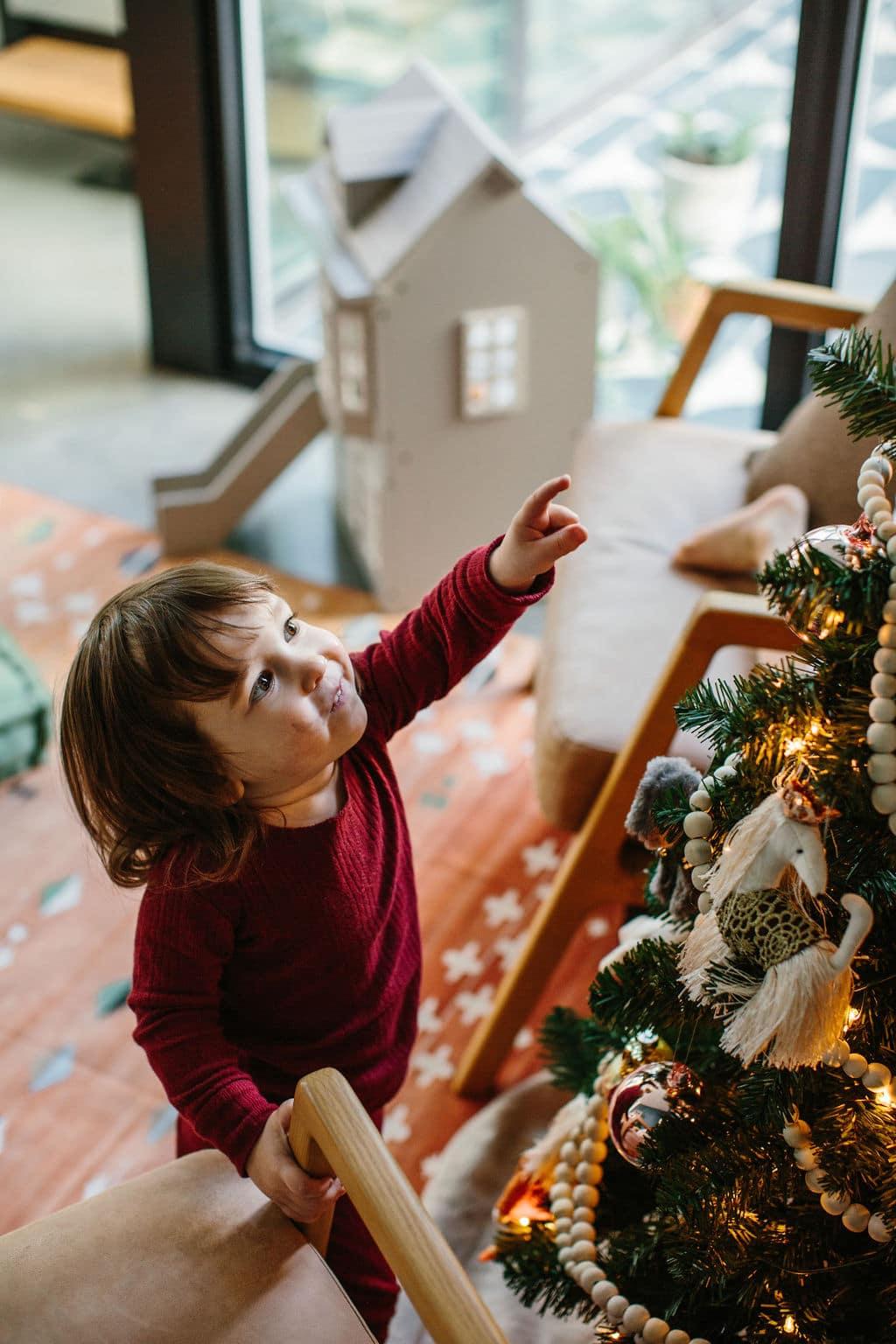 Kid's Christmas Tree Lights and Ornaments Pajamas