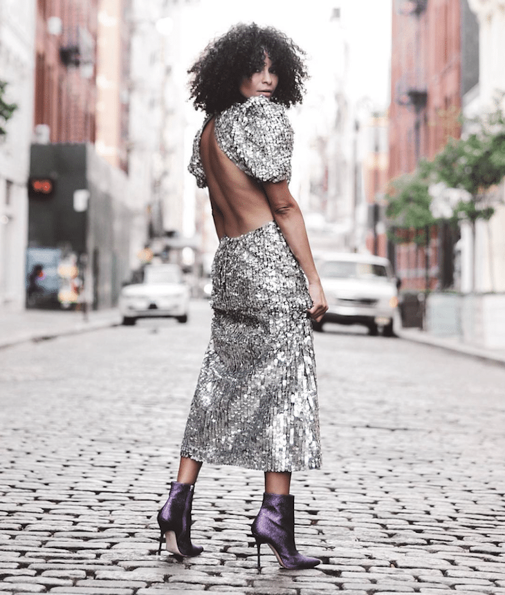 Head to toe silver sequin dress backless