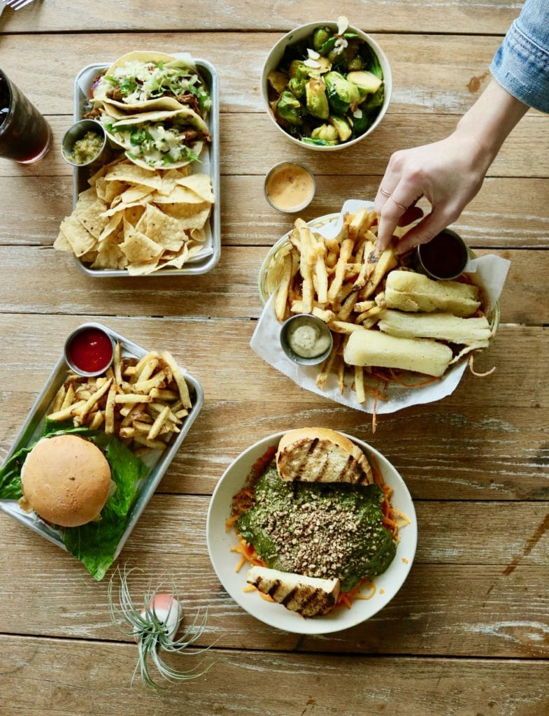 fries and sandwiches on table