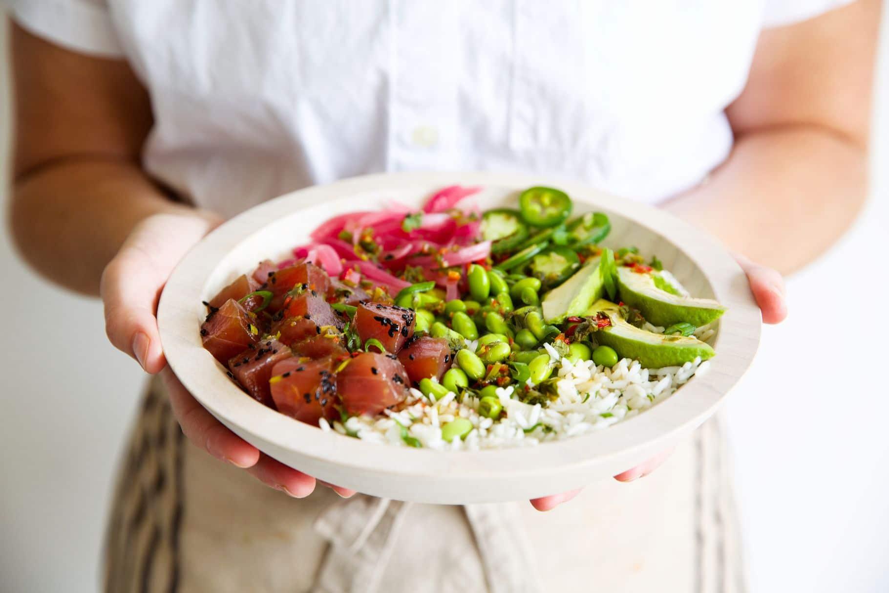 a bowl of tuna