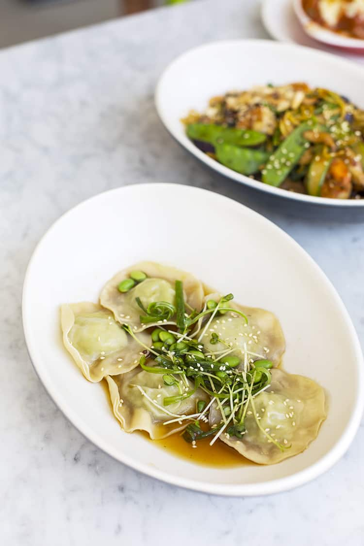 dumplings on plate in one of the healthy restaurants in austin