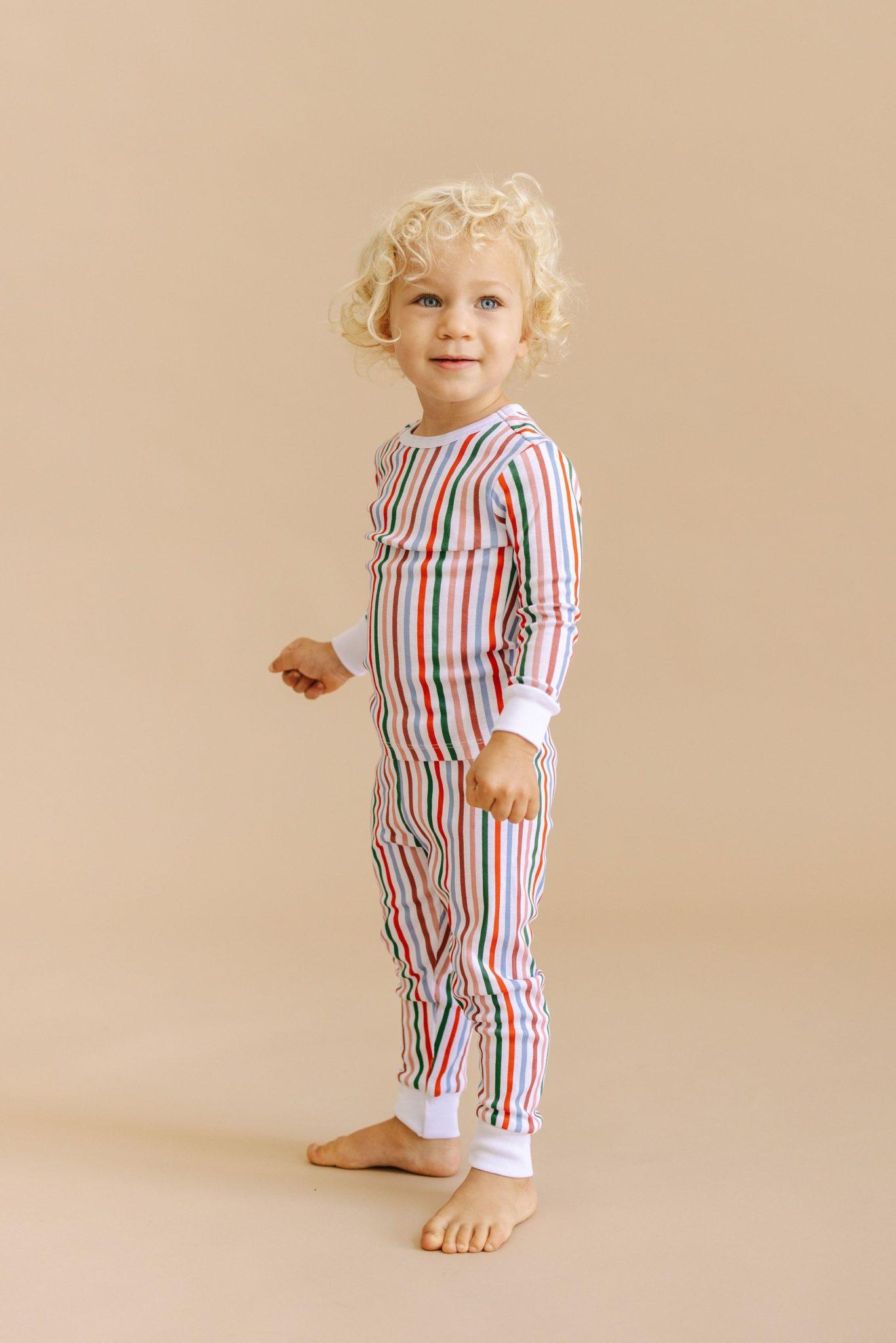 Striped Organic Cotton Holiday Pajamas for Kids