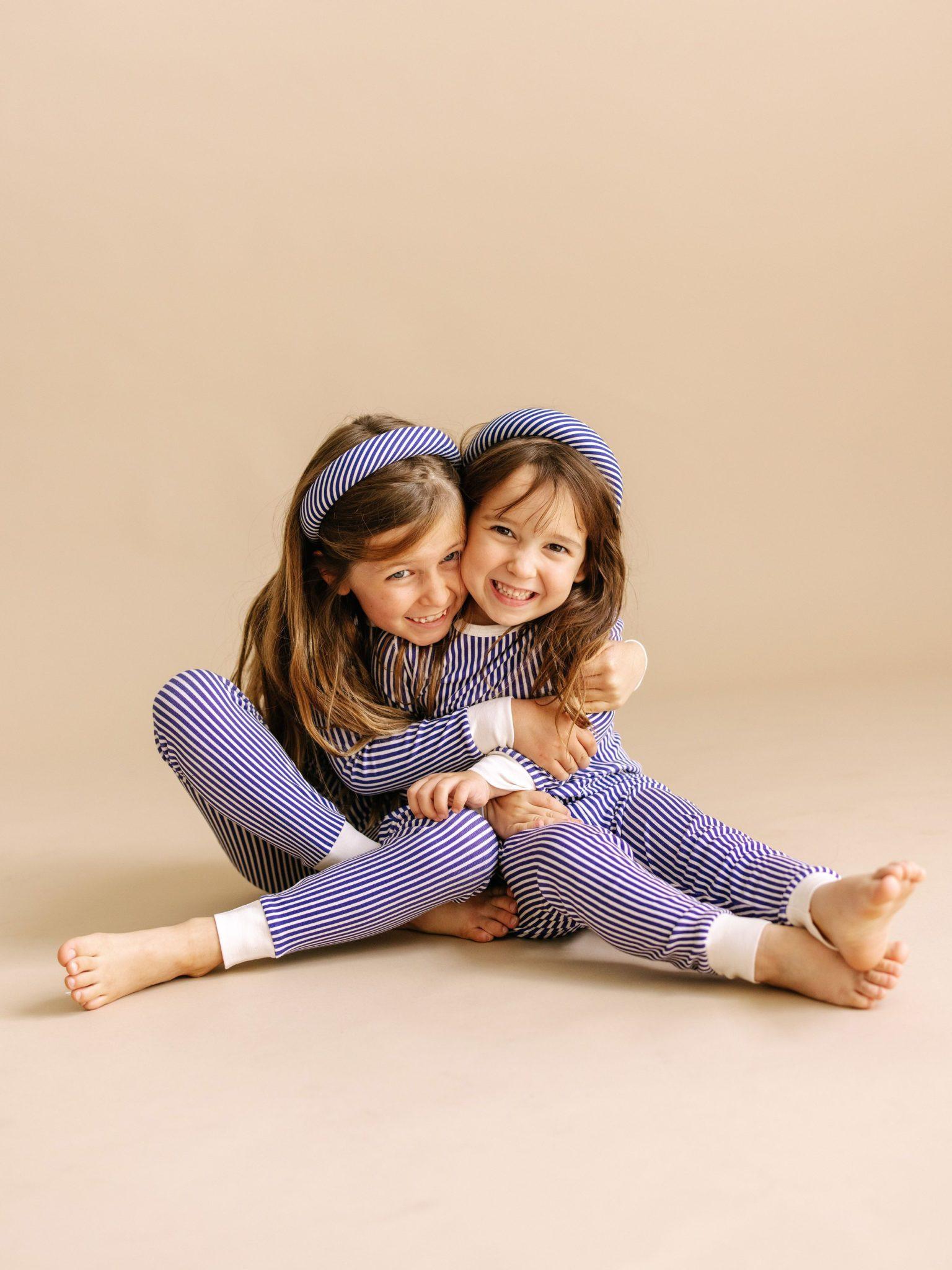 Organic Cotton Pajamas for Kids in Navy Stripe